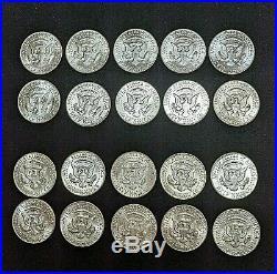 Lot (20) 1964 Kennedy Silver Half Dollars