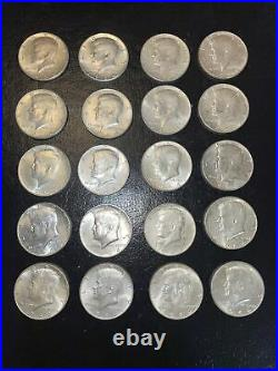 Lot 710 20 Almost Uncirculated 90% Silver Kennedy Half Dollars P&D Mixed
