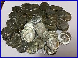 Lot Of 100 1965-1969 Circulated 40% Silver Kennedy Half Dollars (5 Rolls)