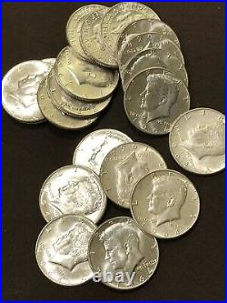 Lot Of (20) Kennedy Silver Half Dollars 90% Dated 1964 BU Sharp Roll Of Coins. A