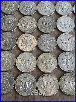 Lot Of (25) Kennedy Silver Half Dollar Coins 90%. Year 1964. Many AU BU! #17