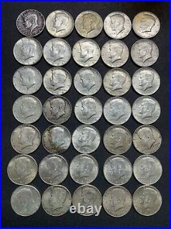 Lot Of 35 Kennedy 90% Silver 1964 Half Dollars