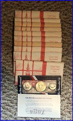 Lot of 10 1976 S Eisenhower Ike SILVER Dollars Kennedy Half Washington Qtr