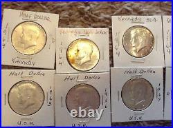 Lot of 10 John F Kennedy Half Dollars 90%&40% percent silver. Scrap. Make Offer