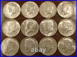 Lot of 12 Kennedy 1964 90% silver half dollar coins