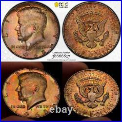 MS64 1968-D 50C Kennedy Silver Half Dollar, PCGS Secure- Rainbow Toned