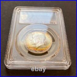 MS66+ 1964 50C Kennedy Silver Half Dollar, PCGS Secure- Pretty Rainbow Toned