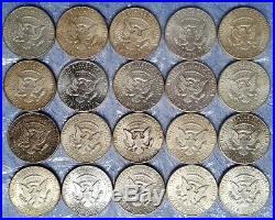 One $10 Roll of twenty 90% Silver 1964 Kennedy Half Dollar Coins