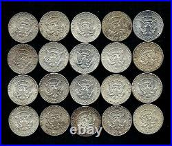 One Roll 1964 Kennedy Half Dollars 90% Silver (20 Coins) Lot D11
