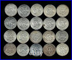 One Roll 1964 Kennedy Half Dollars 90% Silver (20 Coins) Lot D14