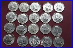 One Roll (20 coins) 1964 Kennedy Half Dollars 90% SILVER LOT 6