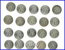 One roll of twenty (20) circulated 90% silver 1964 Kennedy half dollars