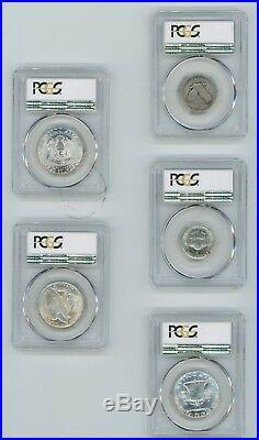 PCGS SAMPLE Slab LOT(5) Silver Franklin Kennedy Liberty Walking Half Dollar