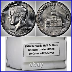 ROLL SILVER 1976 S BU Bicentennial KENNEDY Half Dollar Uncirculated 20 Gem Coins