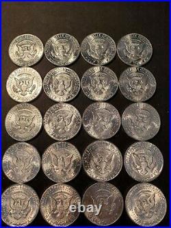 Roll of (20) 1964 Kennedy Silver Half Dollars BU Uncirculated Nice coins