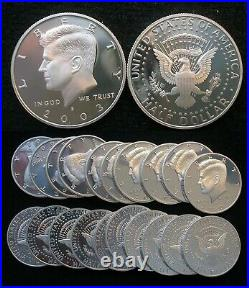Roll of 20 mixed 1992 to 2010-S Proof Kennedy 90% Silver Half Dollars