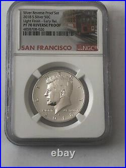 Set Of 2 2018 S SILVER KENNEDY 50C REVERSE PROOF NGC PF70 LIGHT FINISH /and Rev