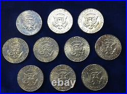 TEN (10) U. S. SILVER 1964 Kennedy Half Dollars, Free Shipping UK, No VAT