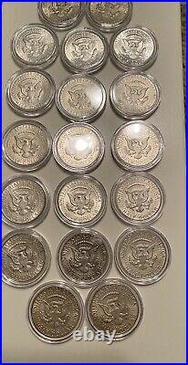 Tube Of (20) All 1964 Kennedy Half Dollars 90% Silver / Circulated