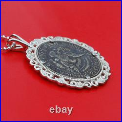 US 1966 Kennedy Half $ Hobo Nickel Style Skull Face 925 Sterling Silver Necklace